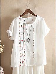cheap -Women's Plus Size Tops Blouse Shirt Floral Embroidery Short Sleeve Round Neck Spring Summer Blue Purple Yellow Big Size L XL XXL XXXL 4XL