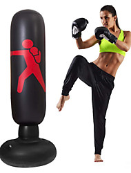 cheap -Kids Punching Bag 63 Inch Free Standing Punching Bag Humanoid Pattern Inflatable Boxing Stand Big Punching Bag for Kids and Adults (Black)