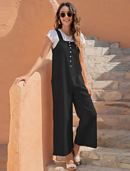 cheap -nuoxi 2021 european and american cross-border women's summer new products casual retro long strap wide-leg pants 1820