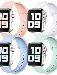 cheap -smartwatch band 4 pack  bracelet compatible with apple watch strap 38mm 42mm 40mm 44mm, soft silicone replacement sports bracelet loop compatible with iwatch series se / 6/5/4/3/2/1