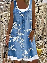 cheap -Women's Shift Dress Knee Length Dress Blue Gray Brown Light Blue Sleeveless Floral Fake two piece Print Spring Summer Boat Neck Casual Modern Loose 2021 S M L XL XXL 3XL 4XL