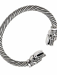 cheap -men's wolf head bracelet braided steel cable bangle adjustable viking bangle (antique silver)