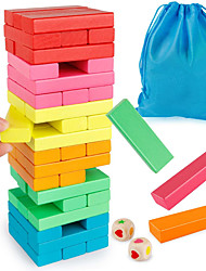 cheap -Wooden Blocks Stacking Game, Toppling Colorful Tower Building Blocks Balancing Puzzles Toys Learning Educational Sorting Family Games Montessori Toys Gifts for Kids (60 Pieces)