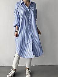 cheap -mid-length shirt women korean long-sleeved shirt dress spring 2021 new blue and white vertical stripes shirt jacket women loose