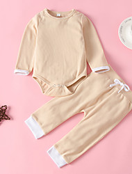 cheap -Baby Girls' Basic Solid Colored Long Sleeve Regular Clothing Set Blushing Pink