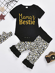cheap -Baby Girls' Basic Leopard Short Sleeve Regular Clothing Set Black