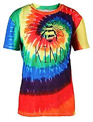 cheap -tie dye shirt women cute bee kind graphic t shirt summer casual short sleeve tee tops rainbow