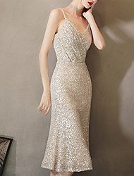 cheap -Mermaid / Trumpet Sparkle Sexy Homecoming Party Wear Dress Spaghetti Strap Sleeveless Knee Length Sequined with Sequin 2021