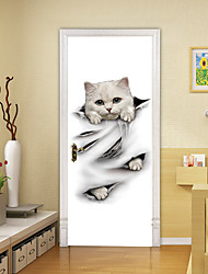 """cheap -2pcs Self-adhesive Creative Cute Little White Cat Door Stickers For Living Room Diy Decorative Home Waterproof Wall Stickers 30.3""""x78.7""""(77x200cm), 2 PCS Set"""