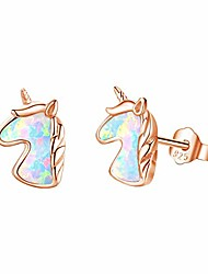 cheap -mouttop unicorn opal stud earrings, 925 sterling silver colorful opal stone 18k gold plated unicorn earrings gifts for girls