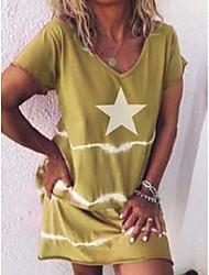 cheap -Women's T Shirt Dress Tee Dress Knee Length Dress Five-pointed star light blue Five-pointed star red Five-pointed star light green Five-pointed star purple Five-pointed star yellow Short Sleeve Solid