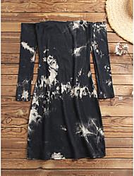 cheap -Women's Sheath Dress Knee Length Dress Yellow White Black Long Sleeve Tie Dye Fall Strapless Casual 2021 S M L XL XXL