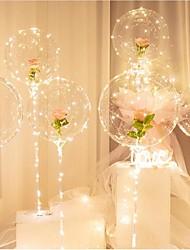 cheap -2pcs Birthday Party Decor LED Balloon Column Stand With Base Transparent Foil Balloon Christmas Wedding Decor Home Decor Accessories