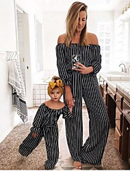 cheap -Mommy and Me Black Stripe Off-shoulder Long Jumpsuits