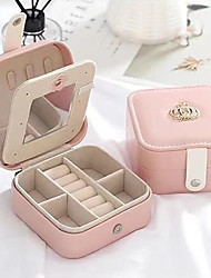cheap -Women Jewelry Box Organizer Ladies Travel Case Earring Ring Necklace Storage Boxes 10*10*5cm
