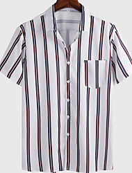 cheap -Men's Shirt Striped Graphic Prints Button-Down Short Sleeve Casual Tops Basic Fashion Breathable Comfortable White