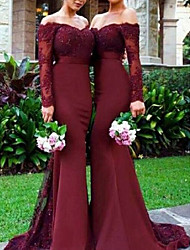 cheap -Mermaid / Trumpet Off Shoulder Sweep / Brush Train Chiffon / Lace Bridesmaid Dress with Lace