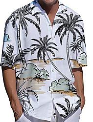 cheap -Men's Shirt 3D Print Coconut Tree Plus Size 3D Print Button-Down Short Sleeve Casual Tops Casual Fashion Streetwear Breathable White / Sports