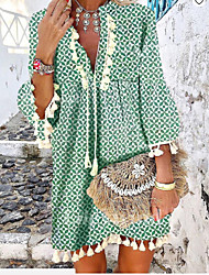 cheap -2020 fall/winter women's amazon wish hot style light mature and gentle printed fringed ruffled v-neck dress