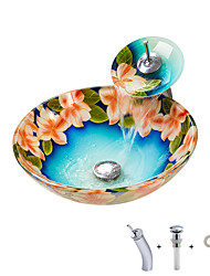 cheap -New Chinese hand painted round basin tempered glass wash basin with waterfall faucet basin holder