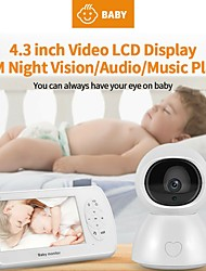 cheap -Baby Sleeping Monitor 4.3'' High Resolution Baby Monitor Infrared Night Vision Wireless Video with Remote Camera Pan-Tilt-Zoom
