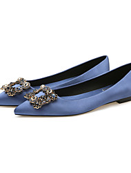 cheap -Women's Flats Flat Heel Pointed Toe Satin Rhinestone Solid Colored Almond Yellow Red