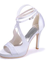 cheap -Women's Wedding Shoes Stiletto Heel Open Toe Satin Solid Colored White Purple Dark Purple
