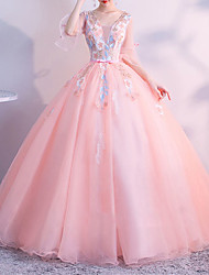 cheap -Ball Gown Elegant Floral Quinceanera Prom Dress Scoop Neck Half Sleeve Floor Length Tulle with Appliques 2021
