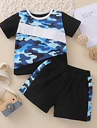 cheap -Baby Boys' Basic Print Short Sleeve Regular Clothing Set Royal Blue