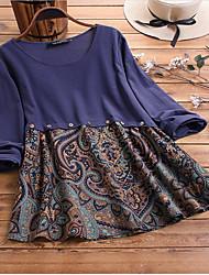 cheap -Women's Plus Size Tops Blouse Shirt Tribal Long Sleeve Round Neck Spring Summer Navy Red Wine Big Size L XL XXL XXXL 4XL