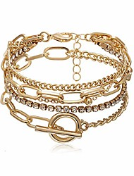 cheap -5pcs handmade thick gold color chunky adjustable lasso rhinestone beads bracelet set multi layered round rectangle chain toggle crystal charm bangles for women girls party gifts jewelry