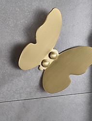 cheap -Butterfly Pattern Robe Hook Wall Mounted Brass Bathroom Hook Creative Gold 1 or 3 or 5pcs
