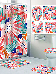 cheap -4-piece Bathroom Shower Curtain Set Polyester Fiber Including Shower Curtain Non-slip Bath Mat Toilet Cover and Waterproof Bathroom Carpet cover with Hooks 3D Digital Printing Soft and Breathable