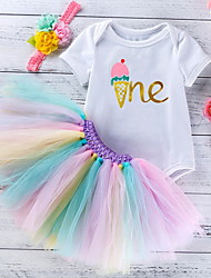 cheap -Baby Girls' Basic Rainbow Letter Print Short Sleeve Dress White Blue Purple