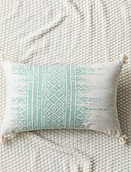 cheap -Nordic Style Blue Geometric Abstract Printing Around Tassel Sofa Rectangular Cushion Cover