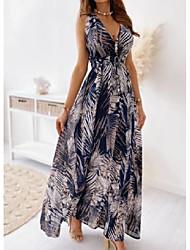 cheap -Women's Swing Dress Maxi long Dress White Blue Black Green Sleeveless Floral Print Backless Lace up Print Spring Summer V Neck Elegant Casual 2021 S M L XL 2XL / Holiday