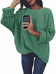 cheap -aihihe oversized sweaters for women loose knitted crew neck long sleeve winter warm pullover long sweater dresses tops green