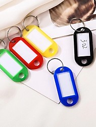 cheap -20pcs Plastic Keychain Key Tags ID Label Name Tags With Split Ring For Baggage Key Chains Key Rings