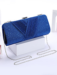 cheap -Women's Bags Polyester Evening Bag Glitter Chain Solid Color Party Wedding Sequins Chain Bag Blue Red Champagne Gold