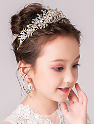 cheap -Kids Baby Girls' Pink Crown Headdress Children Catwalk Cute Princess Headband Birthday Crown Aisha Children Hair Accessories Female Earrings