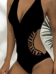 cheap -european and american sexy deep v one-piece beaded hollow pure color simple one piece female swimsuit aliexpress supply