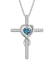 cheap -925 sterling silver infinite birthstone cross/heart necklace 12 months, dainty love heart, personalized birthday valentines gift for women/girls