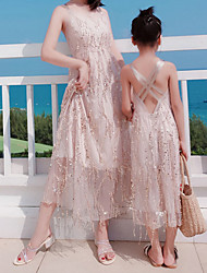 cheap -Mommy and Me Sequins Decor Halter Dresses