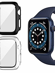 cheap -Smart watch Case 2 pack case for apple watch series se/6/5/4 44mm screen protector with tempered glass, hard pc hd full cover protective iwatch(black+clear).