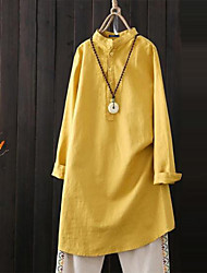 cheap -Women's Plus Size Tops Blouse Plain Long Sleeve Spring Summer Yellow White Black Big Size S M L XL 2XL