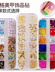 cheap -nail jewelry 12 grid boxed christmas mixed rivet jewelry diamond pearl flower rhinestone colored diamond nail diamond jewelry
