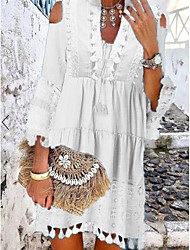 cheap -Women's Shift Dress Short Mini Dress White Blue Yellow Blushing Pink Beige 3/4 Length Sleeve Tassel Fringe Lace Cold Shoulder Summer Deep V Hot Casual Boho vacation dresses 2021 S M L XL XXL 3XL