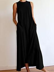 cheap -Women's A Line Dress Maxi long Dress Gray White Black Sleeveless Solid Color Summer Casual 2021 S M L XL XXL XXXL