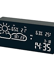 cheap -Weather Station Digital Alarm Clock Weather Thermometer LED Temperature Humidity APP Smart WIFI Forecast Monitor Clock