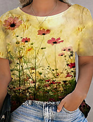 cheap -Women's Plus Size Tops T shirt Print Floral Large Size Round Neck Short Sleeve Big Size